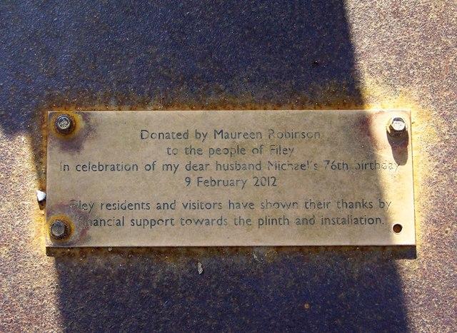 Donation Plaque on the Fisherman's Statue, Promenade, Filey