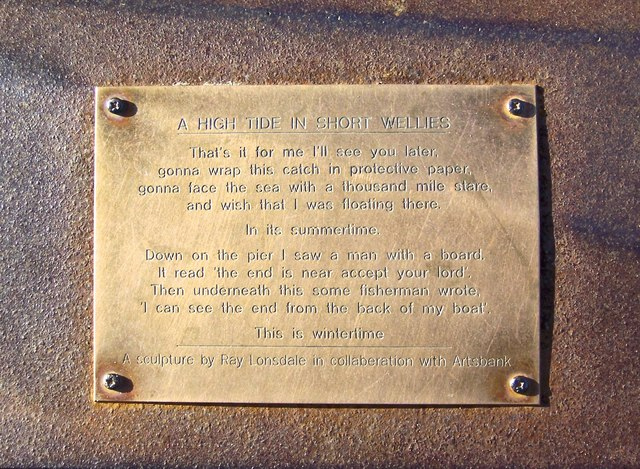 'A High Tide in Short Wellies' Plaque on the Fisherman's Statue, Promenade, Filey