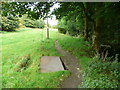 SE0820 : Metal plate over a chamber, Black Brook Footpath by Humphrey Bolton