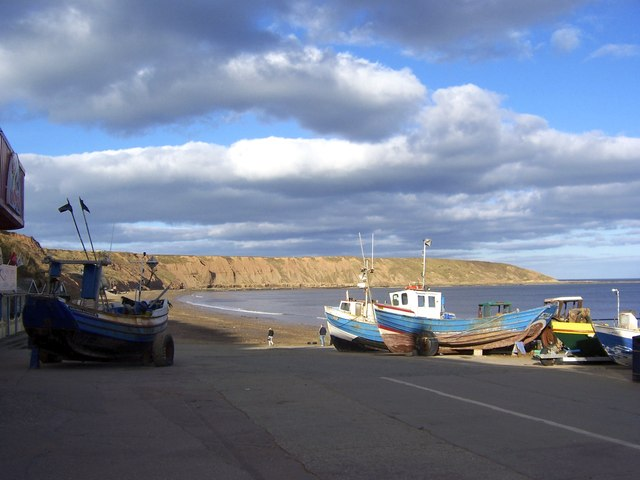 Fishing Boats and Filey Brigg Headland, viewed from the Coble Landing, Filey
