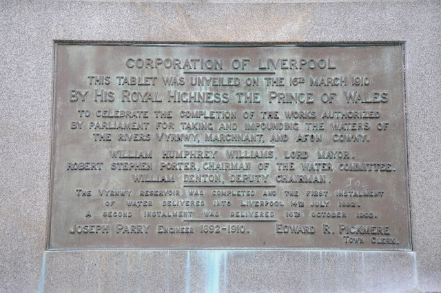 Plaque at Lake Vyrnwy Dam