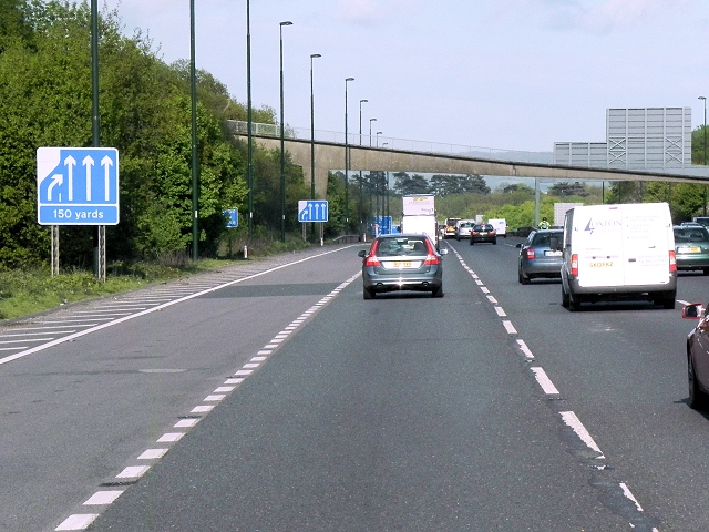 Southbound M20, Footbridge at Little Woodgate