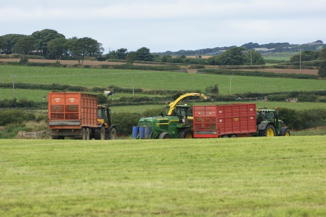 Cutting grass for silage near Hayscastle Cross