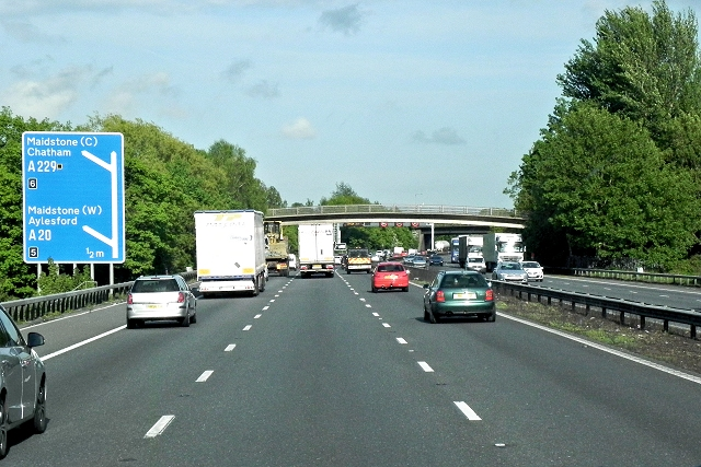 Southbound M20 near Ditton