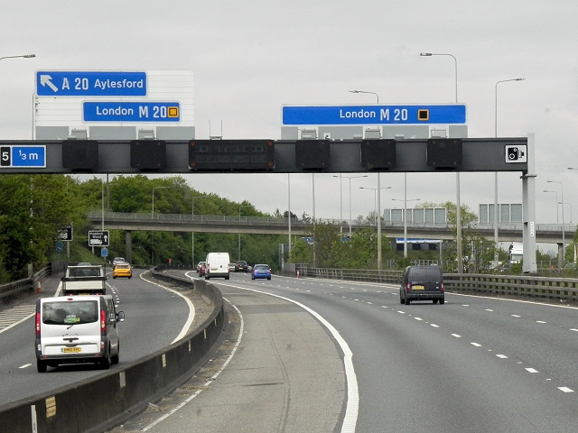 Southbound M20 near Junction 5
