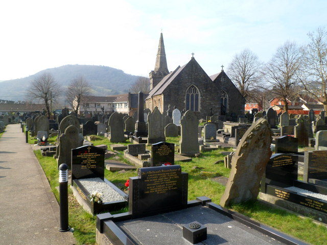 Churchyard and church, St Michael's, Cwmavon