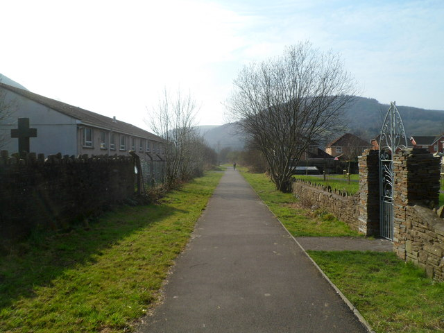 Path at the edge of St Michael's Church Memorial Garden, Cwmavon