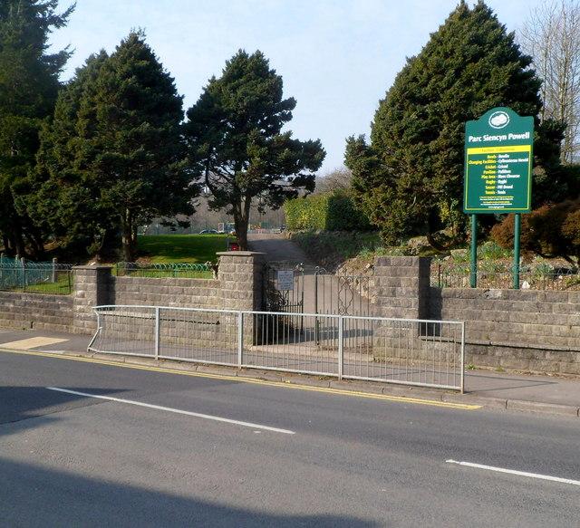 Depot Road entrance to Parc Siencyn Powell, Cwmavon