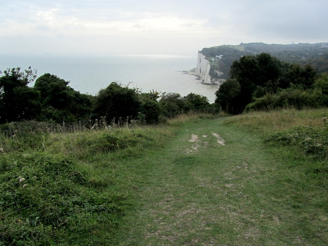 Saxon Shore Way descending towards St. Margaret's Bay