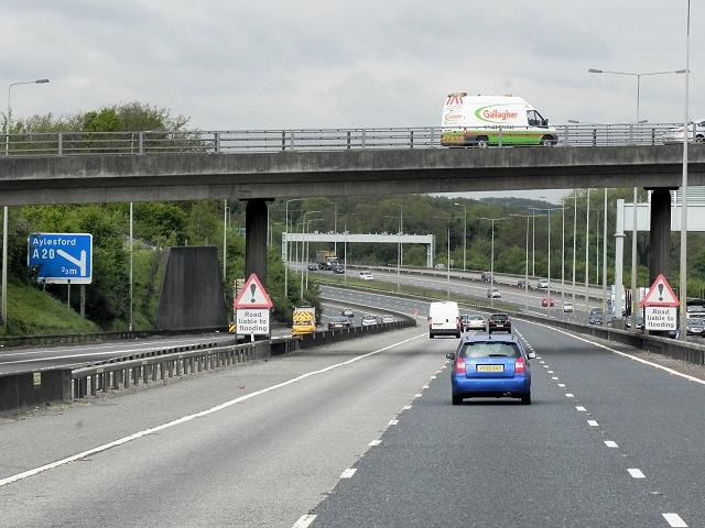 Northbound M20, Forstal Road Bridge