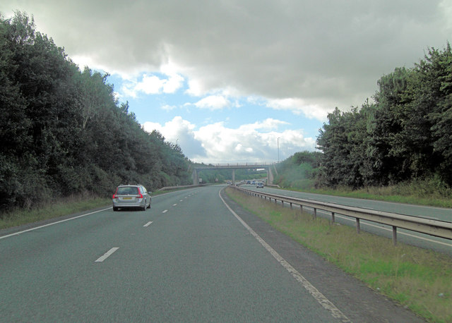 A5 overbridge carries A458