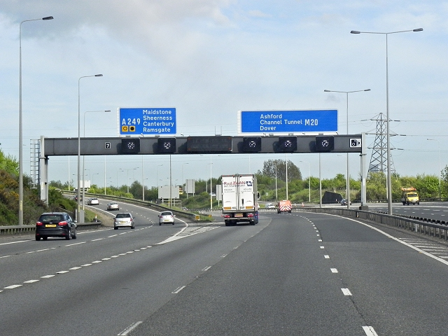 Southbound M20, Exit at Junction 7 (Maidstone)