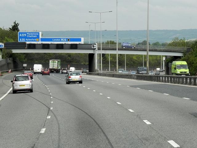 Northbound M20, Boxley Road Bridge
