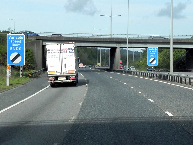 Southbound M20, End of Variable Speed Limit