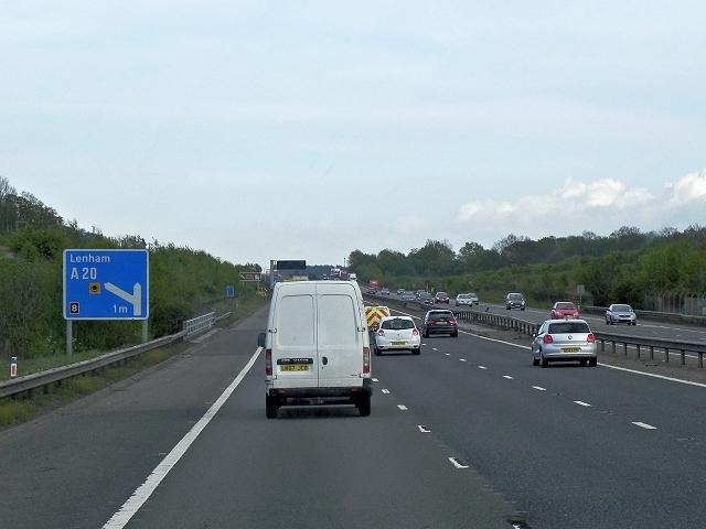 Southbound M20, Thurnham