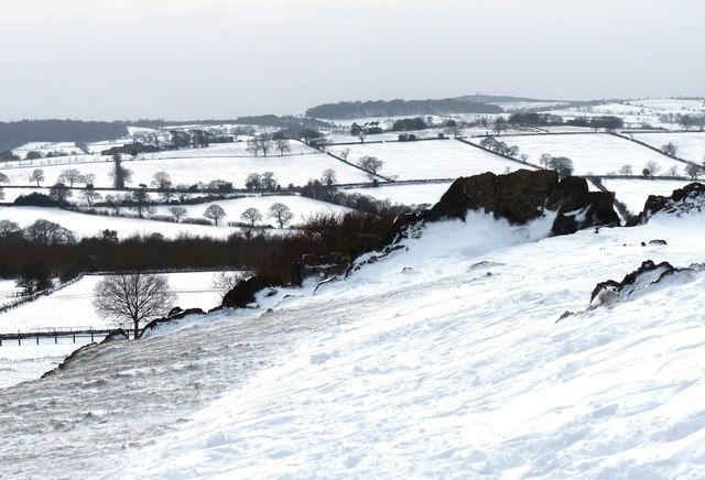 Snow covered fields at Charnwood Forest