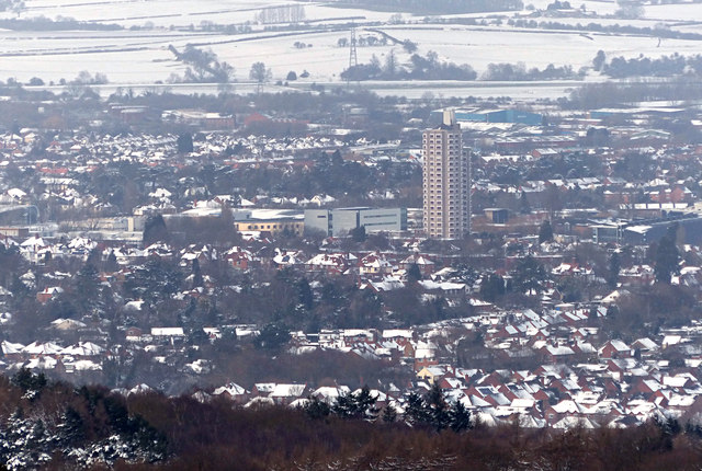 Loughborough town in the snow