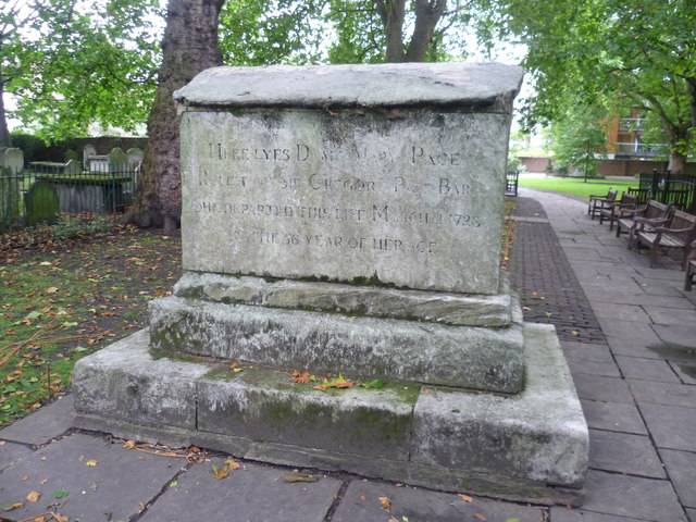 Dame Mary Page grave, Bunhill Fields