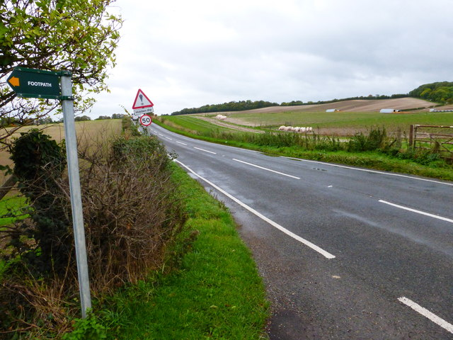 View east on the A417 from footpath by Sheephouse Farm