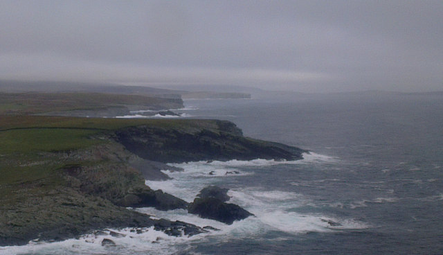 Stack of Otter Geo and the Taing, Virkie, from the air