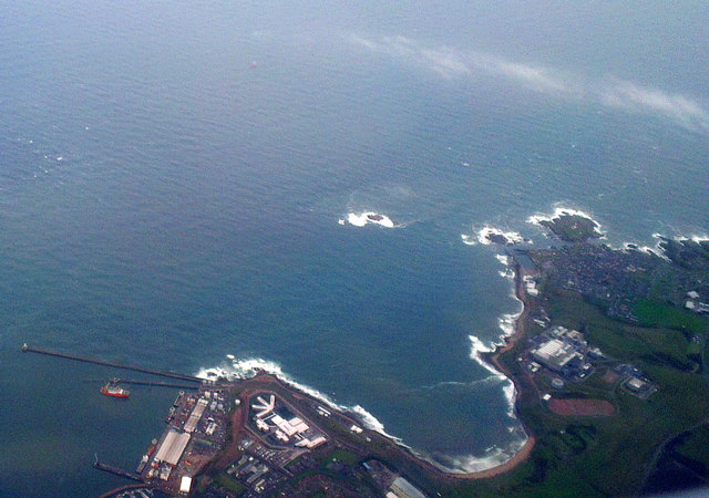 Sandford Bay, Peterhead, from the air