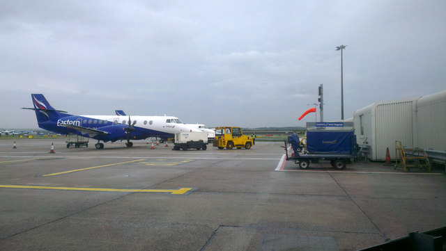 Eastern Airways plane on the apron at Aberdeen Airport