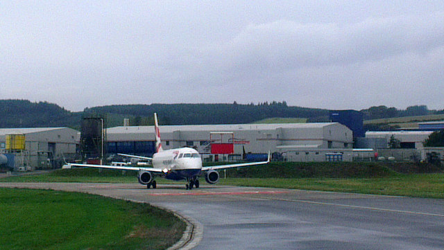 British Airways plane awaiting its take-off slot at Aberdeen Airport
