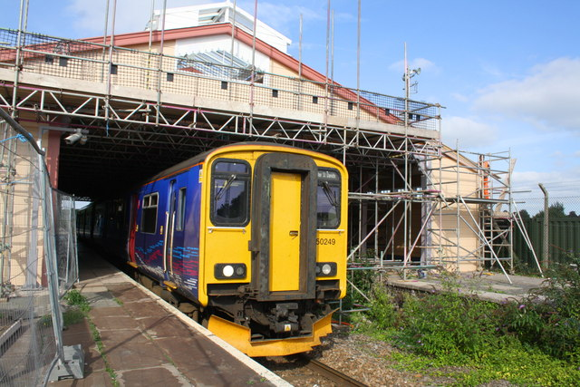 Frome Station with canopy getting maintenance