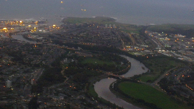 Aberdeen and the River Dee from the air