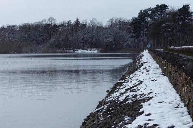 The dam at Cropston Reservoir
