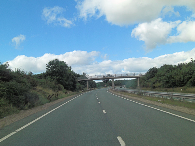 A5 overbridge carries track to Corner Farm