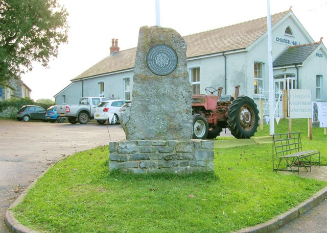 Commemoration stone at Llangyndeyrn