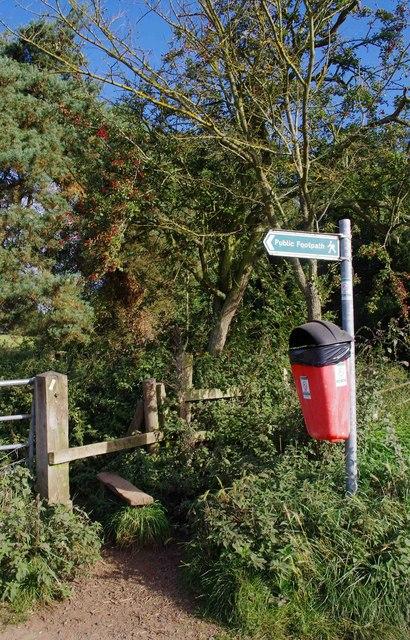 Stile, public footpath sign and dog waste bin, Stanklyn Lane, near Stone, Worcs