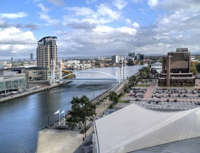 SJ8097 : Manchester Ship Canal, Salford Quays by David Dixon