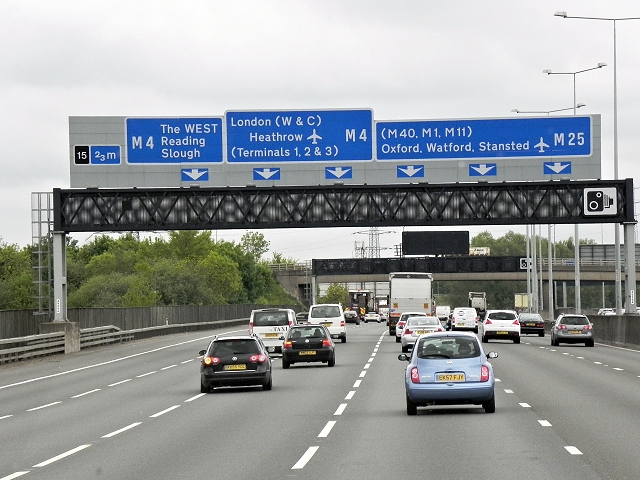 Sign Gantry Over the Clockwise M25 near Longford