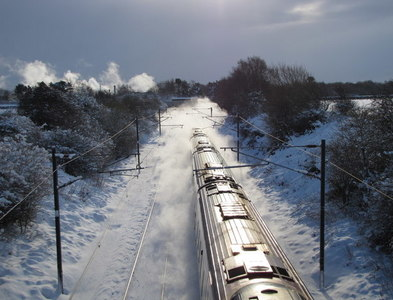 NZ2672 : Intercity Express Train in the Snow, Northumberland by Andrew Tryon