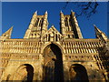 SK9771 : Lincoln Cathedral - The west front in winter sunlight by Richard Humphrey