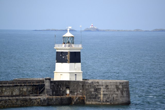 Breakwater Lighthouse and Skerries Lighthouse, viewed from P&O's Adonia, docked at the Anglesey Aluminium Jetty, Holyhead