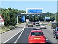 SU4316 : Sign Gantry on M27 Approaching Chilworth Interchange by David Dixon