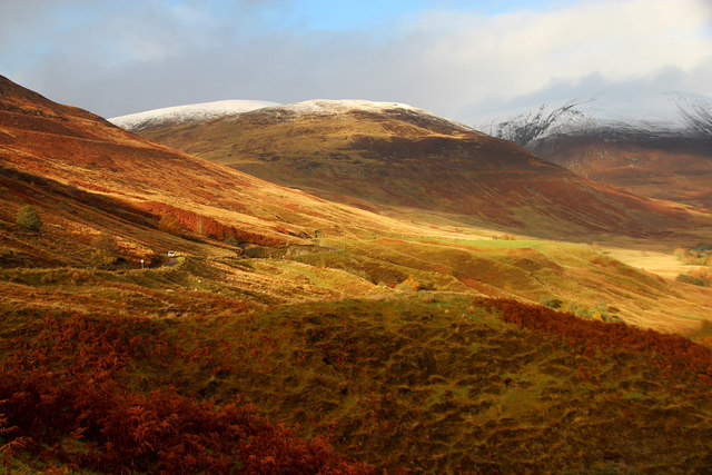 Glen Roy road winds through autumnal colours