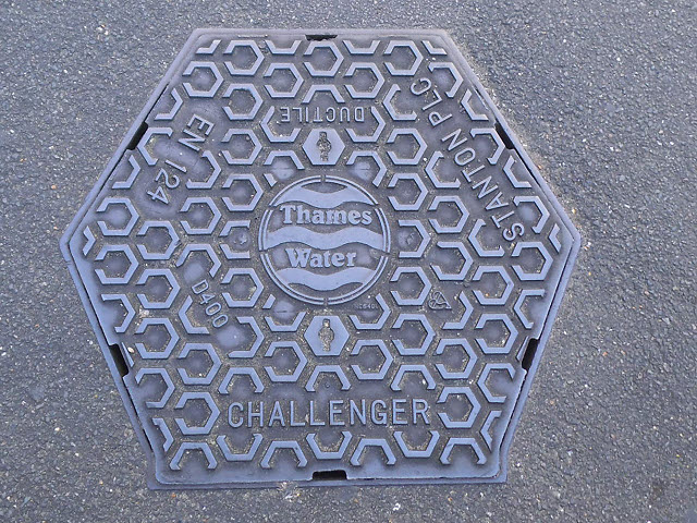 A hexagonal manhole cover