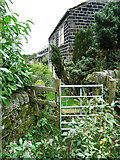 SE0023 : Gate on Hebden Royd FP91 at Upper Birks by Humphrey Bolton
