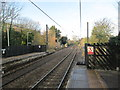 SE1645 : Burley Station - track looking towards Ben Rhydding by Betty Longbottom