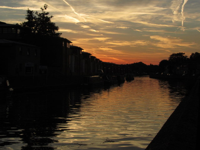 R Witham at Foss Bank, Lincoln at dusk
