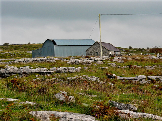 Burren - Poulnabrone Dolmen Site - Farm Buildings amongst the Stones & Grass