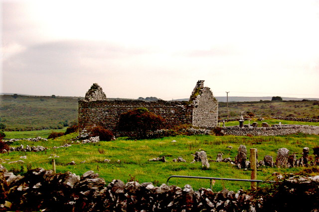 Burren - Derelict Stone Church with  Graveyards enclosed by Stone Walls