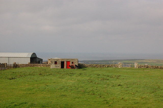 Farm along R478 with Metal Building,  Stone Building, & Two Donkeys in Field
