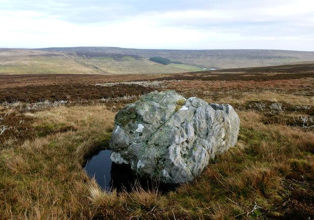Gritstone boulder on Monk's Moor