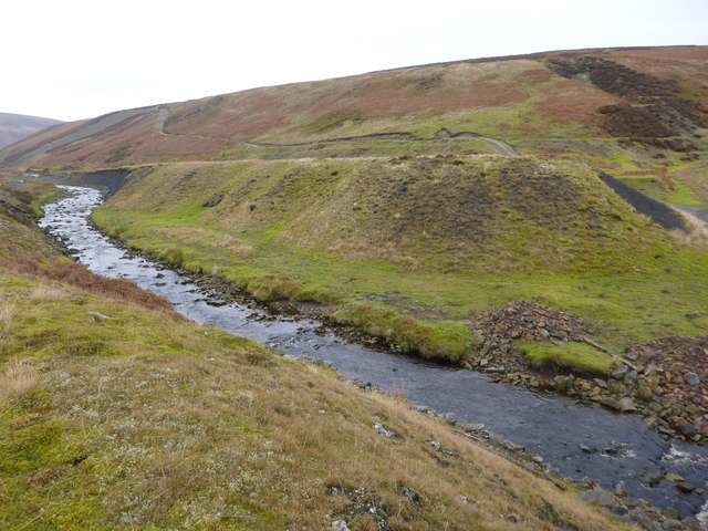 Estate track climbs above mine spoil, Great Eggleshope Beck