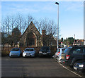 TL4847 : Whittlesford Station car park and mediaeval chapel by John Sutton